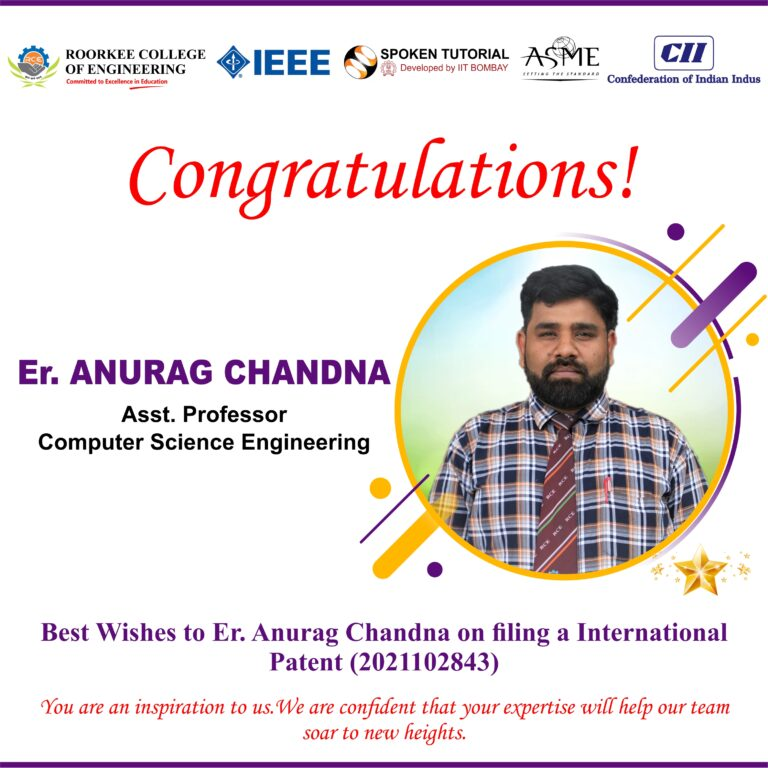 Congratulations! Er. Anurag Chandna (Asst. Professor), CSE Department has filed a Patent.